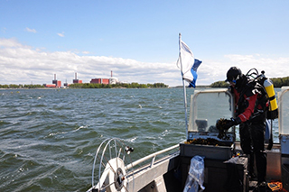 Taking samples from marine environment near Olkiluoto nuclear power plant.