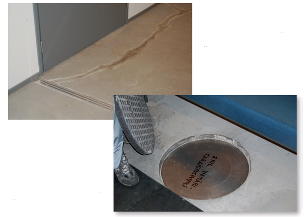 The photo depicts a large crack net to the expansion joint, and a photo of an indoor sewer inspection well.