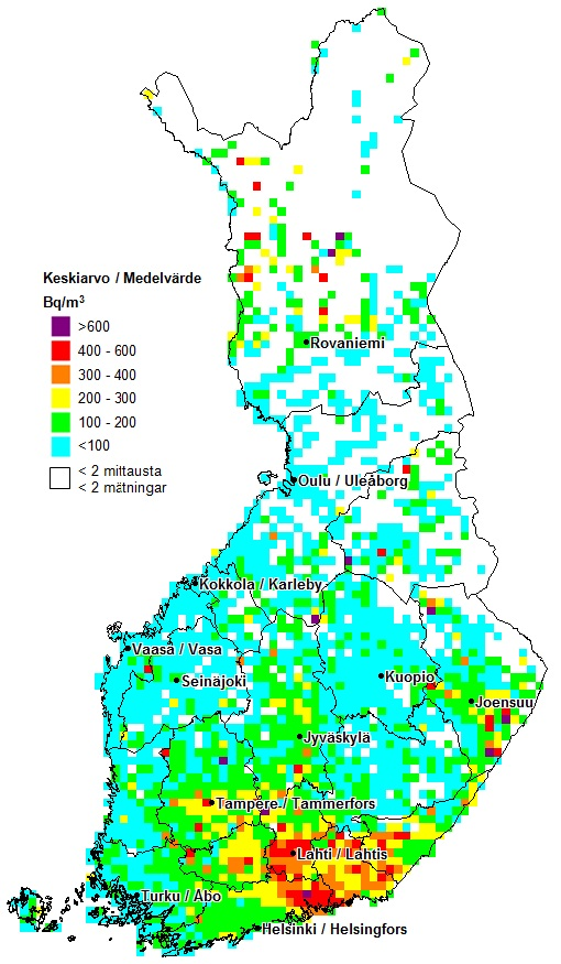 Radon map of FInland