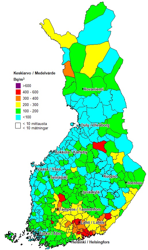 Radon in Finland by municipality