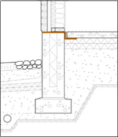 Radon-tight joints between the foundation wall and ground-supported slab
