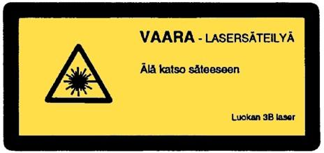 Warning sign. The sign has the texts DANGER - LASER RADIATION, Do not stare into beam, Class 3B laser.