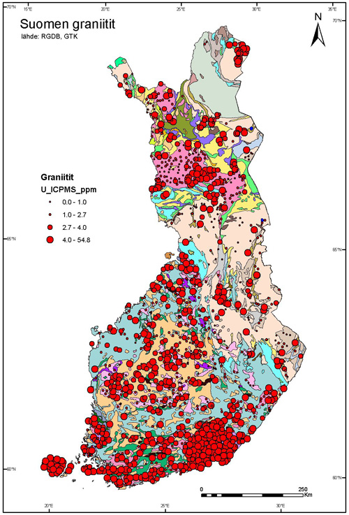 Map of Finland of the variation in uranium concentration in the Finnish bedrock.