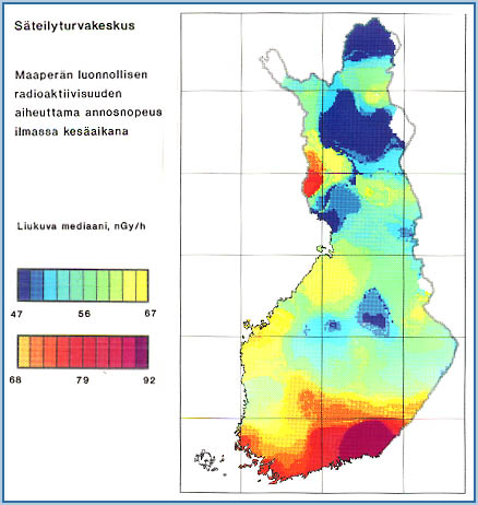 Map of external gamma radiation. Dose rate caused by the natural radioactivity of soil in the air in summer. The reading varies by region due to the variation in natural radioactivity of soil.