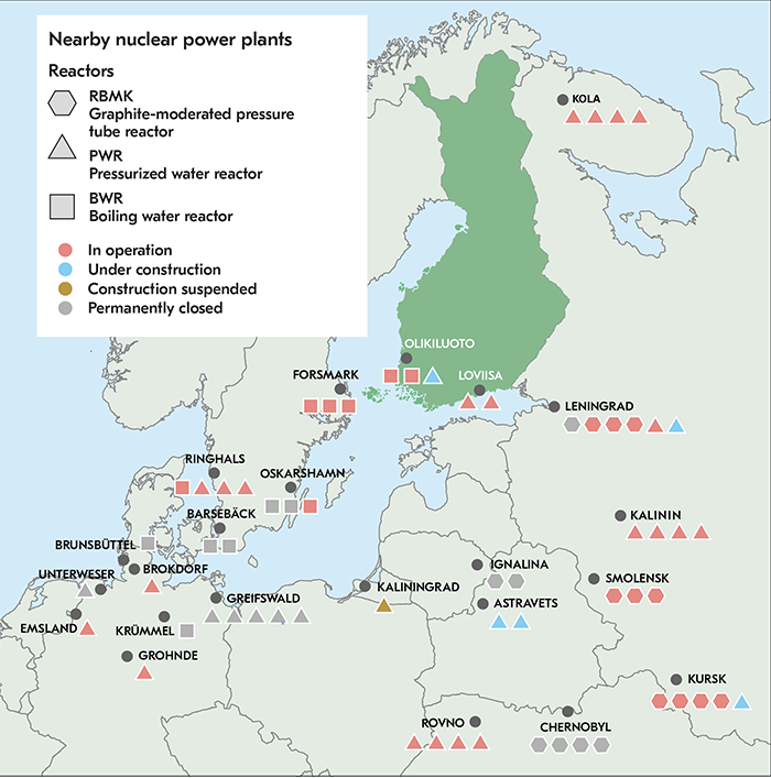 The location of Finnish and nearby nuclear power plants on the map.